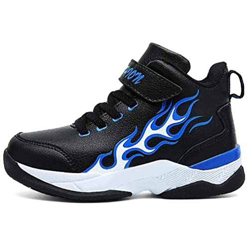 Zapatillas Deportivas Altas de Baloncesto para niños con Velcro Moda para niños Zapatillas de Deporte de Cuero Negro Zapatillas para Caminar al Aire Libre: ...