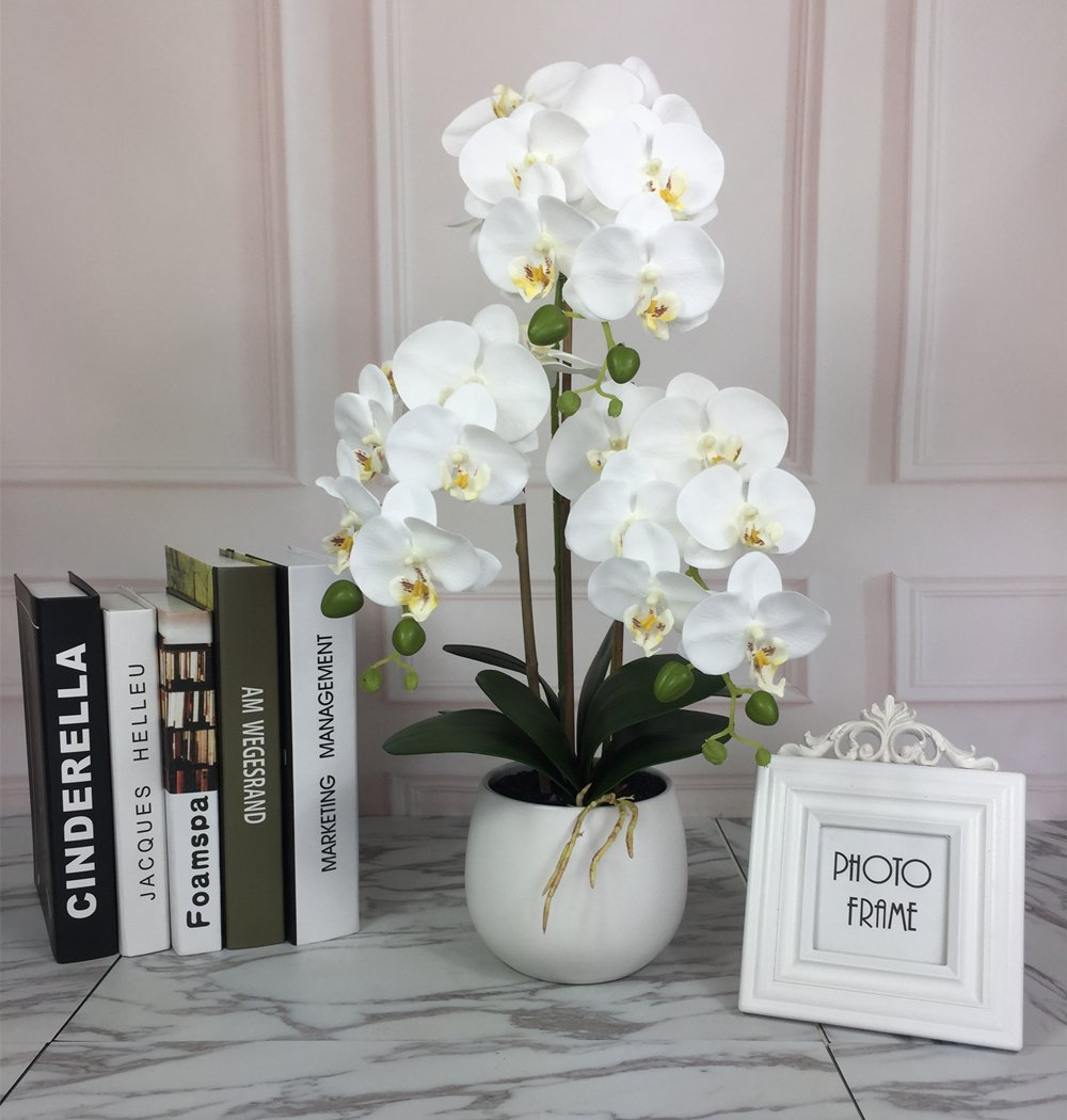 Lifelike TallシルクOrchid withホワイトセラミック花瓶、Large Vivid Artificial Flower Arrangement , potted orchid plant B076HM9WL9