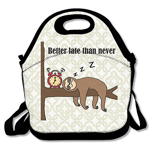 Late Than Never Sloth Lunch Bag Thermal Insulated Tote Picnic Lunch Cooler Box Pouch Picnic Bento Box ()