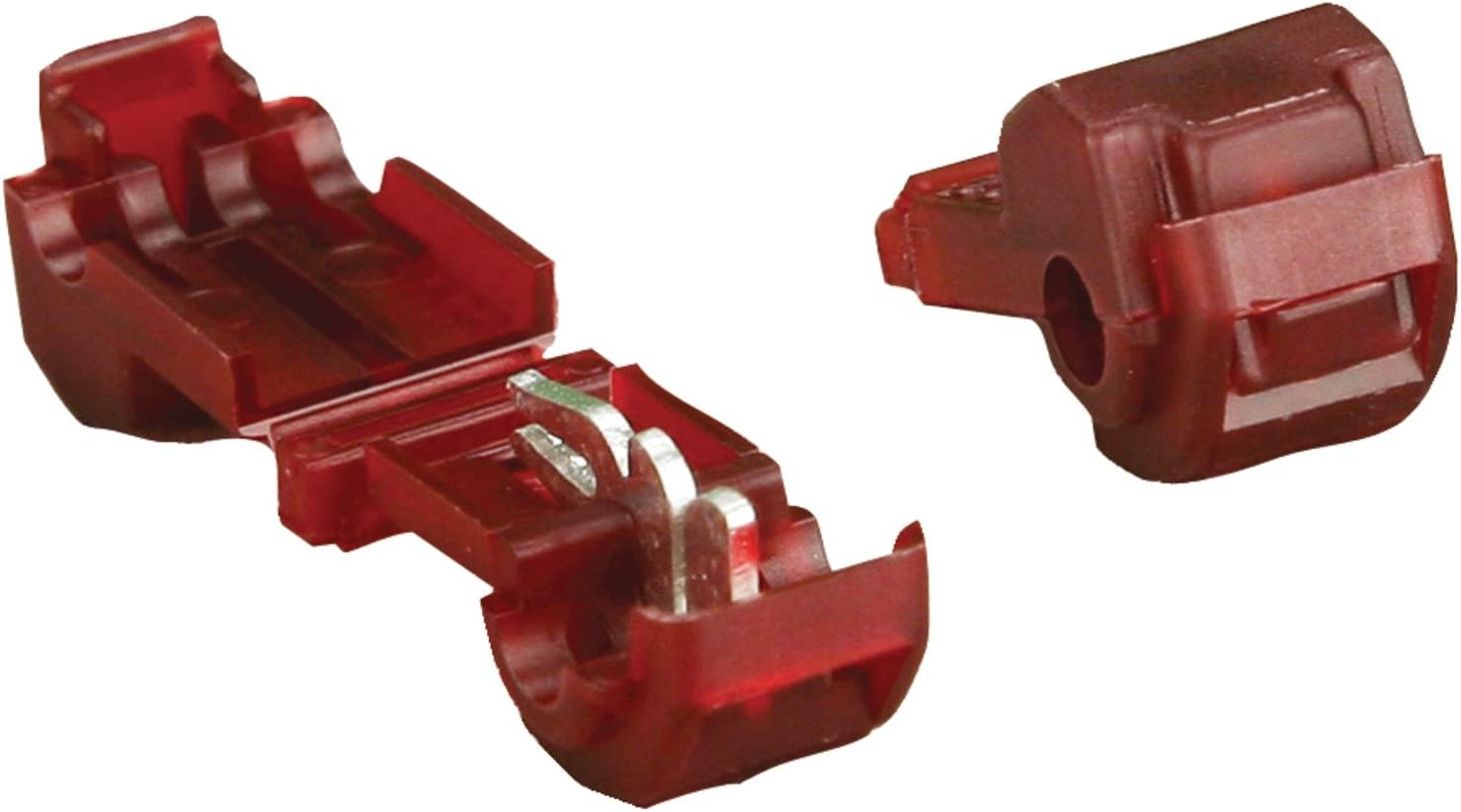 Red 100-Pack Install Bay RNMD250F Fully Insulated Nylon Male Connector 22//18 Gauge .250
