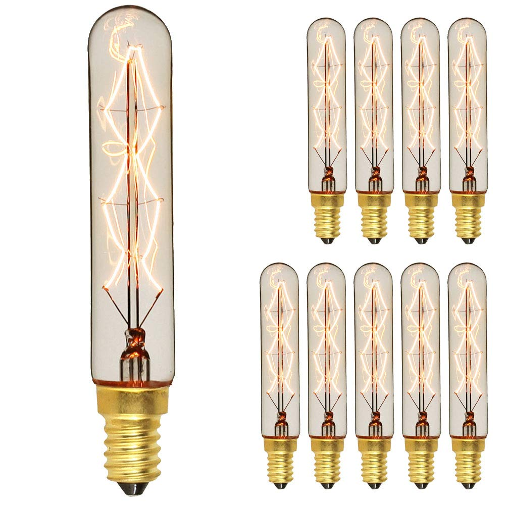 Tianfan 10PCS//Pack lampadina Edison piccolo Edison E14S 40/W retr/ò lampadina a filamento piccolo tubo decorativo lampadina vintage