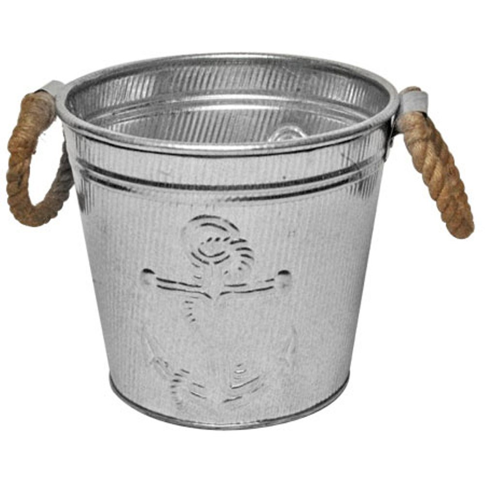 Galvanized Metal Ice Bucket for Drinks or Planter Pail with Rope Handles by KINDWER (Image #1)
