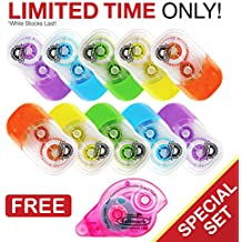 """Fullmark 2018 Back To School Value Pack,Model E Correction Tape, 0.2"""" X 236 Inches each, 10-pack + 1 FREE GLUE ROLLER worth $6.99"""