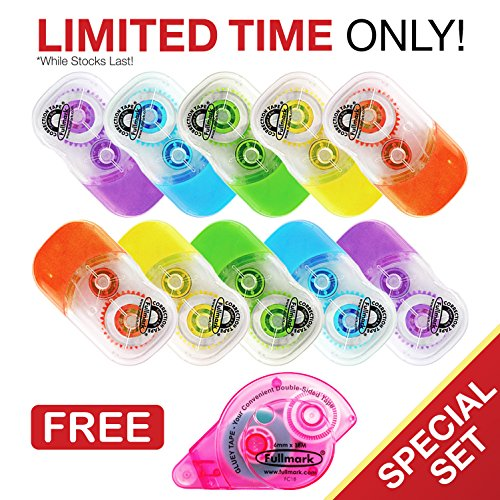 """Fullmark Back To School Value Pack,Model E Correction Tape, 0.2"""" X 236 Inches each, 10-pack + 1 FREE GLUE ROLLER worth $6.99"""