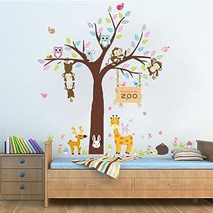 Woodland Arts 3 feet x 3 feet Jungle Cute Monkeys Giraffe Rabbits Trees Zoo Animal Removable Vinyl Wall Decals Stickers for Children Room Nursery