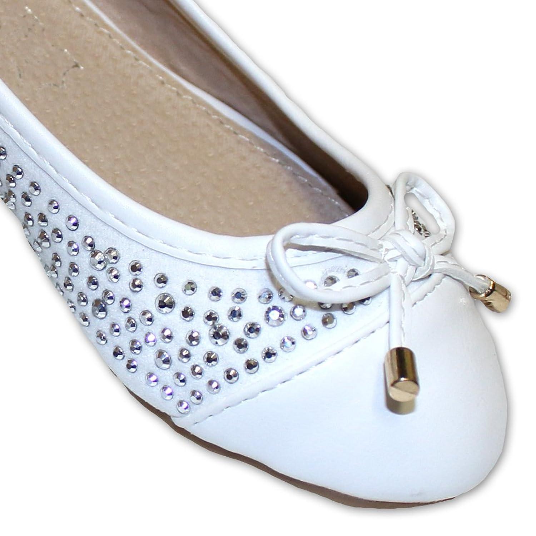 Jili Mädchen Ballerina weiß mit Nieten (25, weiss): Amazon.de: Schuhe &  Handtaschen