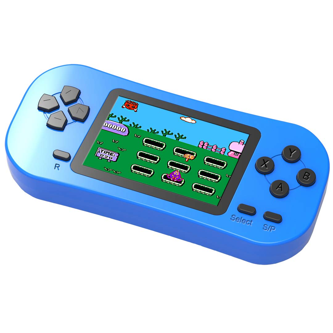 Douddy Kids Retro Handheld Game Console Built in 218 Old School Video Games 2.5'' Display USB Rechargeable 3.5 MM Headphone Jack Arcade Entertain System Children Birthday Christmas Gift (Blue)