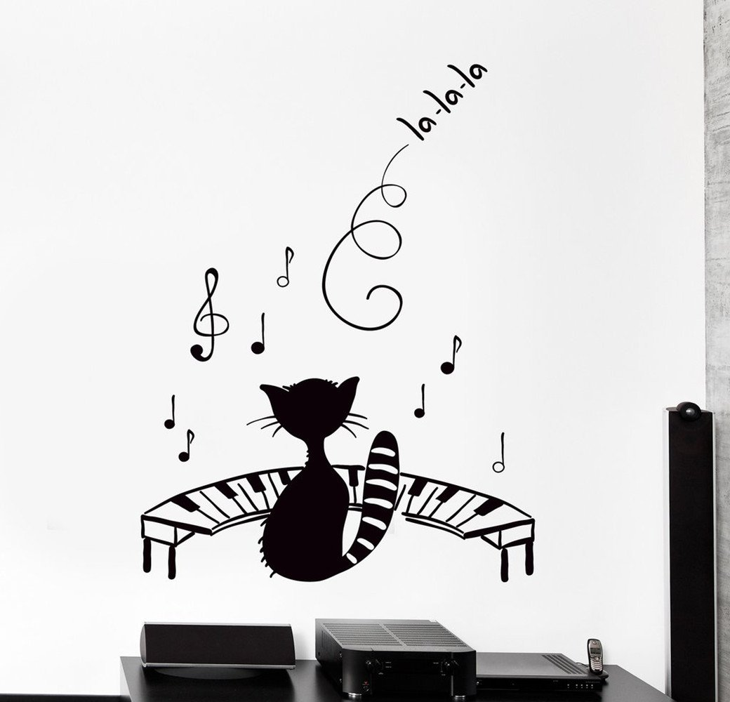BorisMotley Wall Decal Funny Pet Black Cat Kitty Music Piano Notes Vinyl Removable Mural Art Decoration Stickers for Home Bedroom Nursery Living Room Kitchen