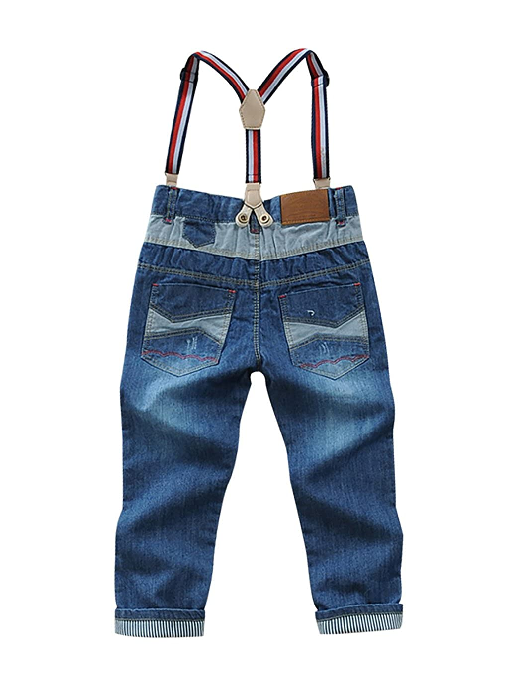 LISUEYNE Baby Boy Summer Spring Casual Blue Jean Long Holey Ripped Basic Strap Jeans Elastic Band Denim Long Jeans for Boys