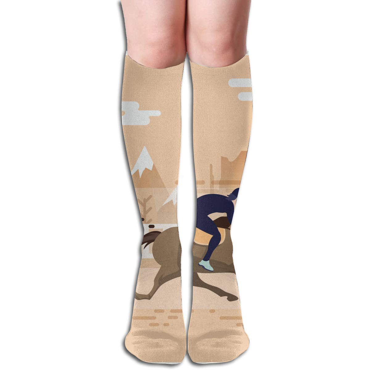 Girls Socks Over Knee Man Riding Horse Winter Custom Personalized For Party