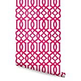 Modern Trellis Wallpaper - Magenta - 2 ft x 9 ft - 6pk - by Simple Shapes ®