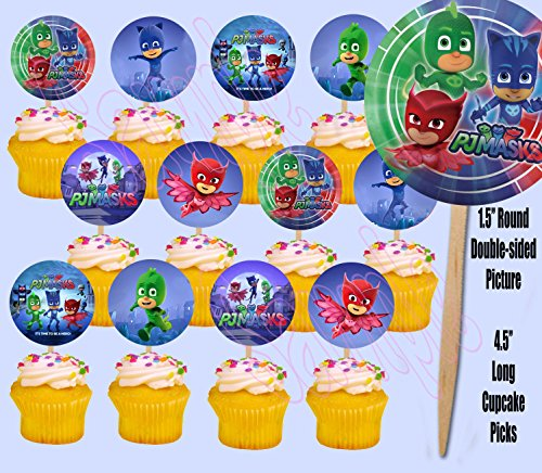 Price comparison product image PJ Masks Disney Jr Cupcake Picks Cake Toppers -12 pcs Catboy,  Owlette,  Gekko