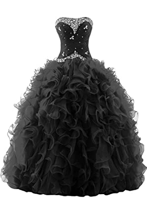 34baa065d60 Sunvary Rhinestone Pleated Ball Gown Prom Dresses for Quinceanera Dancing  Size 2- Black