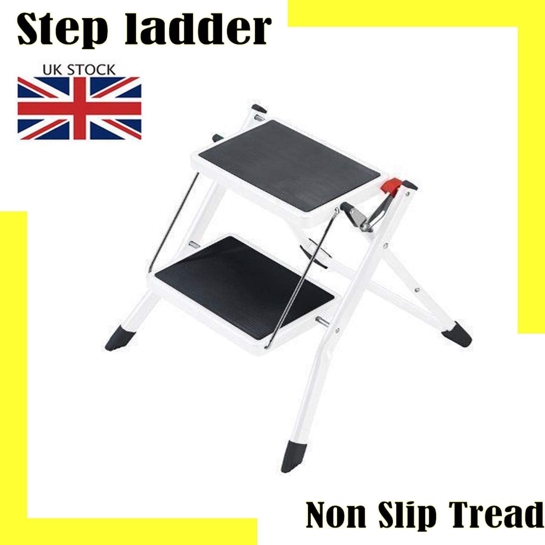 Mini escalera plegable de acero resistente de 2 peldaños, portátil, para cocina, caravana, casa, jardín, herramienta, ligera, antideslizante, de seguridad: Amazon.es: Bricolaje y herramientas