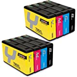 CMTOP 2Set Remanufactured 786 786XL Ink Cartridges High Yield, (2 Black 2 Cyan 2 Magenta 2 Yellow) for WorkForce Pro WF-5110 WF-5190 WF-5690 WF-4640 WF-4630 WF-5620 Printer