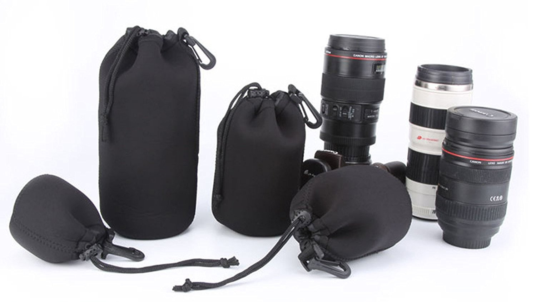 Objektivtasche Set, CAM-ULATA Wasserdicht Schützenden Neopren Objektivbeutel mit Haken und Gürtelschlaufe für Canon Nikon Sony Olympus Pentax DSLR Kamera Objektiv mit 4 Größe Multi Pack, Schwarz