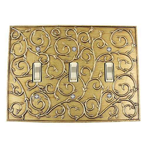Meriville French Scroll 3 Toggle Wallplate, Triple Switch Electrical Cover Plate, Antique Gold