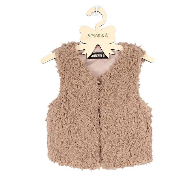 VLUNT Chaleco de Piel para Niños Fur Vest Abrigo de Piel Sin Mangas Niña Ropa Invierno