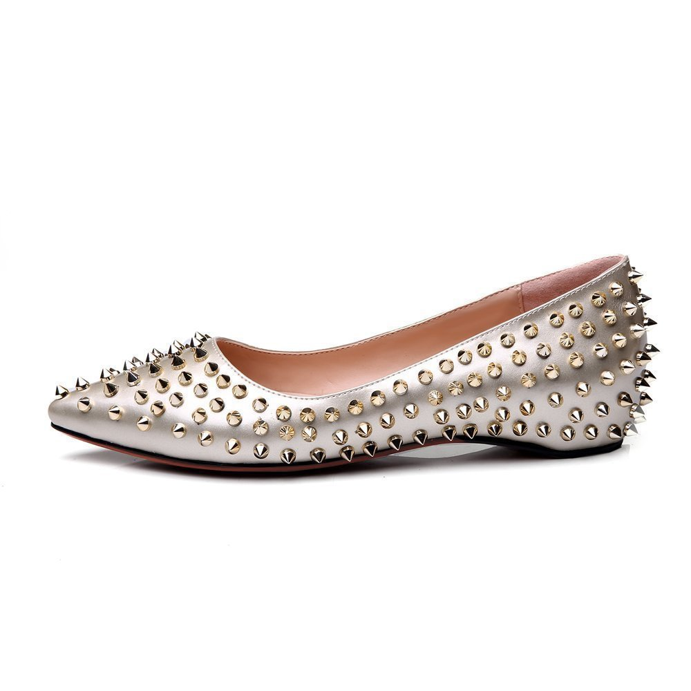 Mermaid Women's Shoes Pointed Toe Spiked Rivets Comfortable Flats B06ZZ7WJJ2 US 7 Feet length 9.25