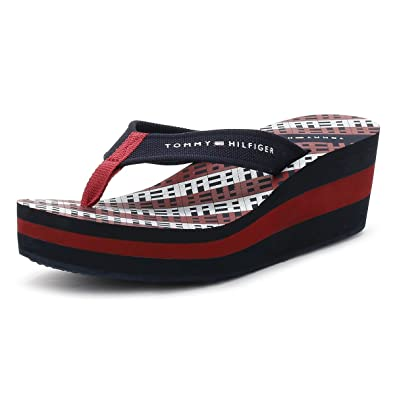 d3e30ae5a4d9 Tommy Hilfiger Womens Midnight Blue Wedge Flip Flop  Amazon.co.uk  Shoes    Bags
