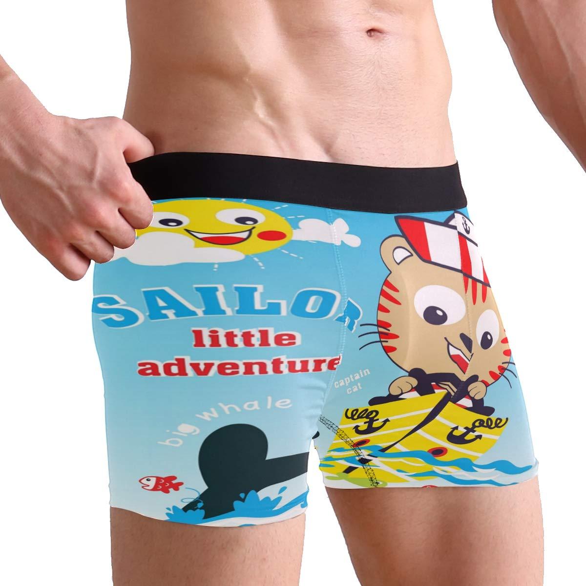 Men Boxer Briefs Polyester Underwear Men 2 Pack Boxer Briefs for Valentines Day with Sailor Adventure Pattern