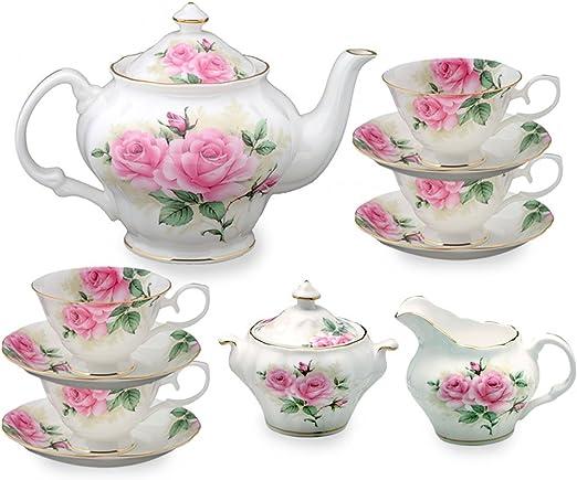 Amazon.com | Gracie Bone China 11-Piece Tea Set, Pink Green Rose ...