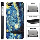 [TeleSkins] - Vincent Van Gogh The Starry Night - iPhone SE / 5 / 5S Black Plastic Case - Ultra Durable Slim & HARD PLASTIC Protective Vibrant Snap On Designer Back Case / Cover. [iPhone SE / 5 / 5S]