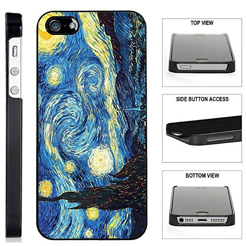 - [TeleSkins] - Plastic Case for iPhone SE / 5S / 5 - Vincent Van Gogh The Starry Night - Ultra Durable Slim Fit, Protective Plastic Snap On Back Case/Cover