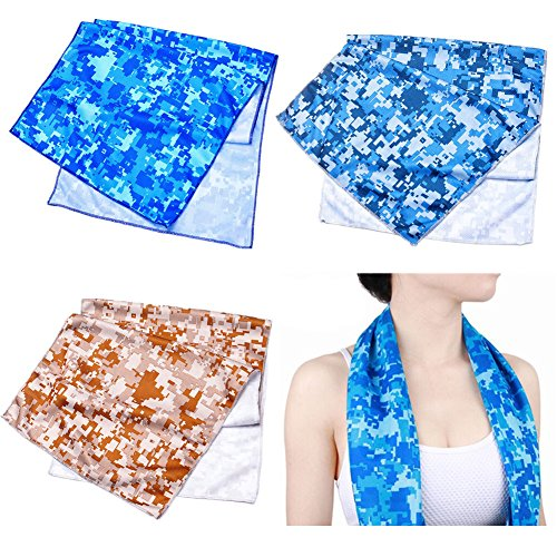 Camouflage Cooling Towel for Instant Relief,Sports,Workout,Fitness,Gym,Yoga,Travel,Camping and Hiking,Set of 3 Pcs
