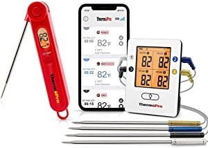 ThermoPro TP25 495ft Long Range Wireless Bluetooth Meat Thermometer + ThermoPro TP03 Digital Instant Read Meat Thermometer