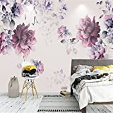Mbwlkj 3D Wallpaper Black and Purple Flower Wallpaper Photo Wall Murals Girls Bedroom Wallpaper Home Decor Ideas Home Room Design Study-250Cmx175Cm