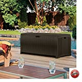 Wicker Deck Storage Box Outdoor Patio Waterproof 73 Gallon Mocka Brown & eBook by BO4Y