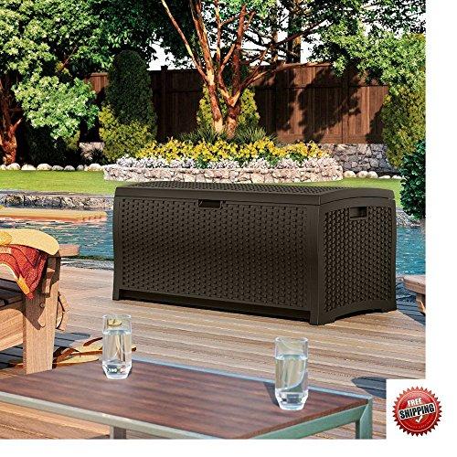 Wicker Deck Storage Box Outdoor Patio Waterproof 73 Gallon Mocka Brown & eBook by BO4Y by BO4Y