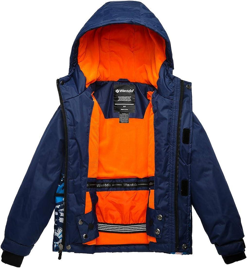 Wantdo Boys Hooded Ski Jacket Waterproof Winter Coat for Skiing Skating Hiking