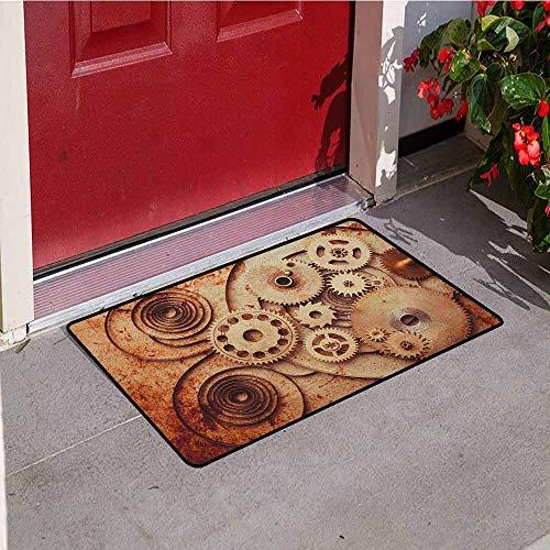 GloriaJohnson Vintage Front Door mat Carpet Mechanical Clocks Details Old Rusty Look Backdrop Gears Steampunk Design Machine Washable Door mat W19.7 x L31.5 Inch Dark Orange Beige]()