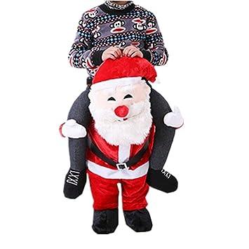 Prettycos Adulto Disfraz divertido de Santa Claus Papá Noel llevame Con falsas piernas