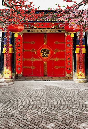 Leowefowa Designed 3x5ft Vinyl Thin Photography Background Traditional Chinese Red Lanterns Door Flowers Brick Wall Scene Theme for Person Album Backdrop,1(W)x1.5(H)m Customizable Photo Studio Props