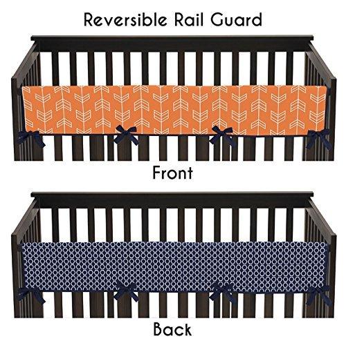 Sweet Jojo Designs Baby Crib Long Rail Guard Cover for Orange and Navy Arrow Print Bedding Collection [並行輸入品]   B0785PBPK1