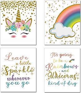 Unicorn Art Posters, Rainbow Wall Art for Teen Girls Bedroom Colorful Art Prints 4 PCS Decor for Girl Room, Kids Room Wall, Unframed 8