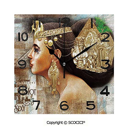 - SCOCICI Print Square Wall Clock, 8 Inch Woman Queen Cleopatra Profile Historical Art Scene with Ancient Pyramid Sphinx Decorative Quiet Desk Clock for Home,Office,School