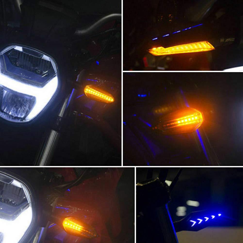Luce Blu Accessori Per Moto ulofpc 2PCS Indicatore Di Direzione A Led Per Motocicletta Impermeabile Equipaggiamento Per Guida Notturna Luce Gialla