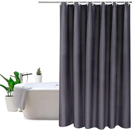 Eurcross Dark Grey Shower CurtainMildew Resistant Thick Fabric Curtain Bathroom With Metal Grommets