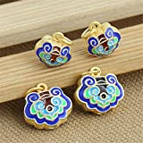 Luoyi 1pc Golden Plated Sterling Silver Enamel Large Hole Dangle Beads, Lock Cloisonne Pendant, Hole: 4mm (T028L) (Big)