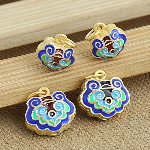 Luoyi 1pc Golden Plated Sterling Silver Enamel Large Hole Dangle Beads, Lock Cloisonne Pendant, Hole: 4mm (T028L) (Small)