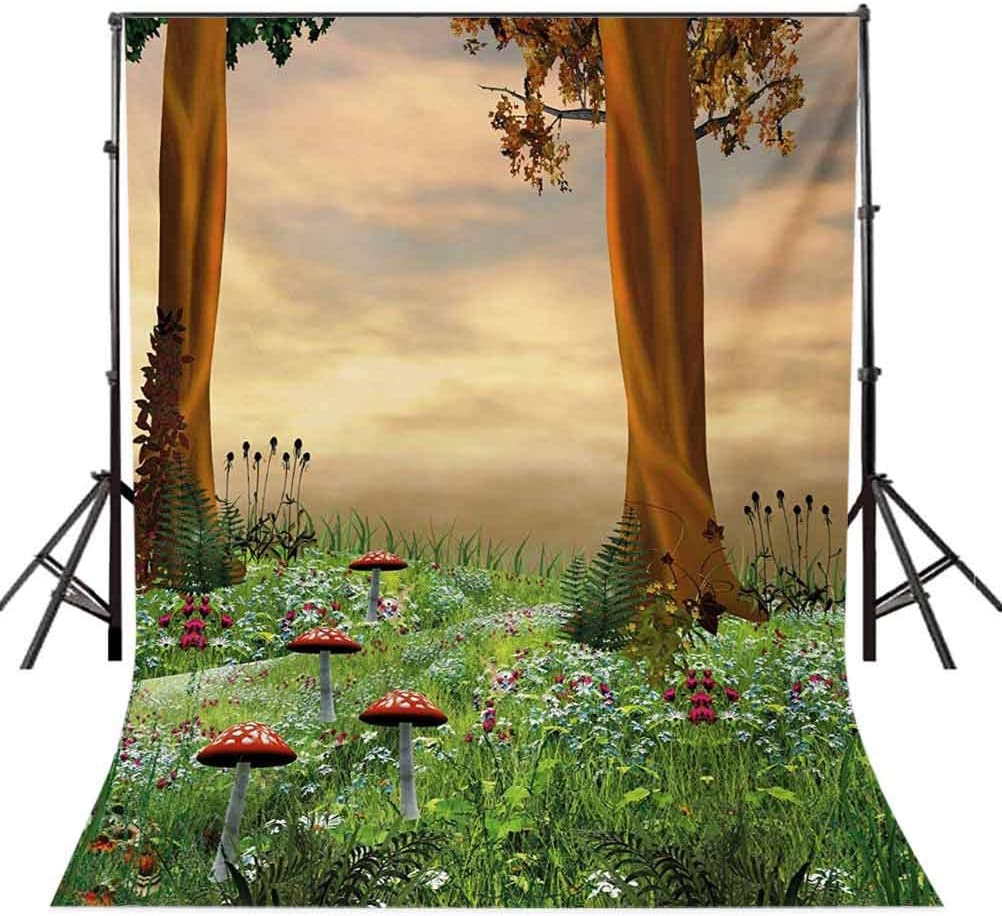 Nature 10x15 FT Backdrop Photographers,Enchanted Woods Summer Season Mushrooms Flowers Trees Wildgrass at Sunset Cartoon Background for Baby Birthday Party Wedding Vinyl Studio Props Photography