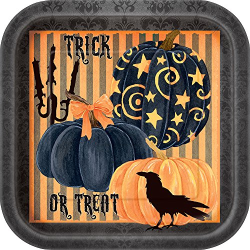 Square Painted Pumpkin Halloween Dinner Plates,