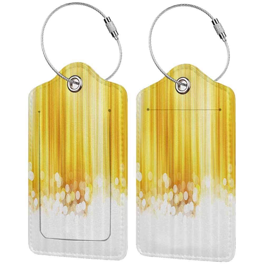 Multicolor luggage tag Yellow Decor Gold and White Ombre Striped Design with Bubble alike Circles Artwork Hanging on the suitcase Yellow and White W2.7 x L4.6