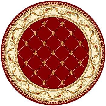 KAS Oriental Rugs Corinthian Collection Fleur De Lis Round Area Rug, 7u0027