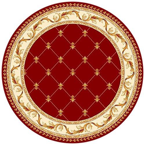 KAS Oriental Rugs Corinthian Collection Fleur-De-Lis Round Area Rug, 7' x 7