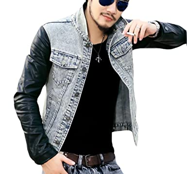 87fb8401c45 ouxiuli Mens Autumn Casual Slim Fit Denim Jean Jacket With Leather Sleeves  1 XS